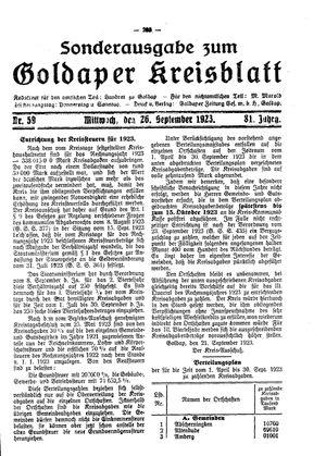 Goldaper Kreisblatt vom 26.09.1923