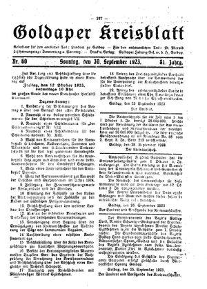 Goldaper Kreisblatt vom 30.09.1923