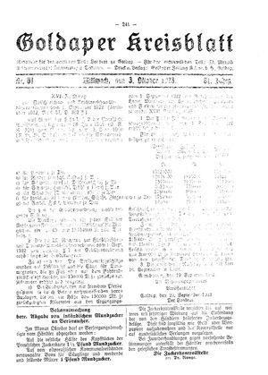 Goldaper Kreisblatt vom 03.10.1923