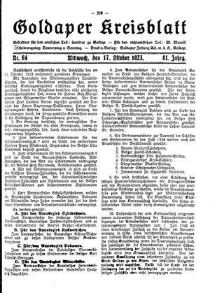 Goldaper Kreisblatt vom 17.10.1923