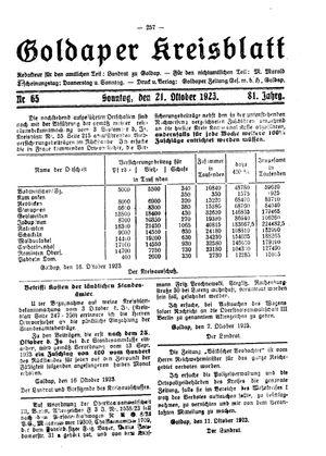 Goldaper Kreisblatt vom 21.10.1923