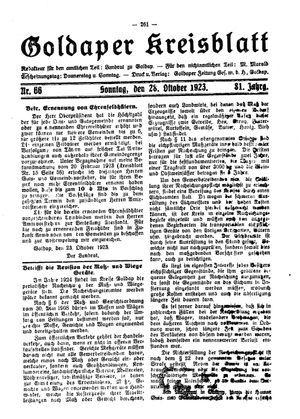 Goldaper Kreisblatt vom 28.10.1923