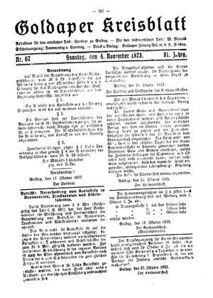 Goldaper Kreisblatt vom 04.11.1923