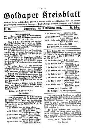 Goldaper Kreisblatt vom 08.11.1923