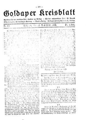 Goldaper Kreisblatt vom 11.11.1923