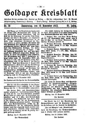 Goldaper Kreisblatt vom 15.11.1923