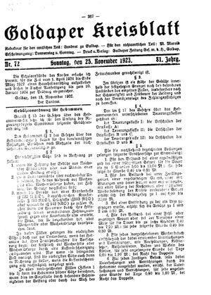 Goldaper Kreisblatt vom 25.11.1923
