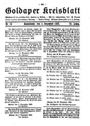 Goldaper Kreisblatt vom 01.12.1923
