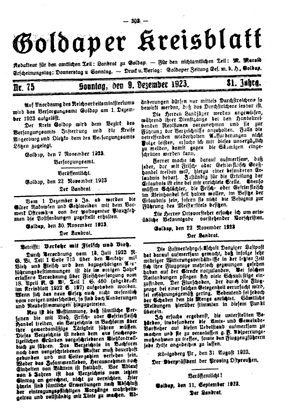 Goldaper Kreisblatt vom 09.12.1923