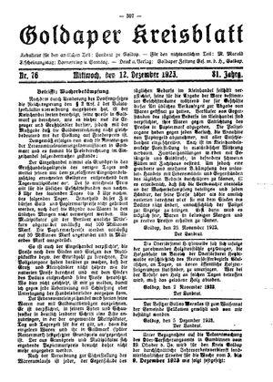 Goldaper Kreisblatt vom 12.12.1923