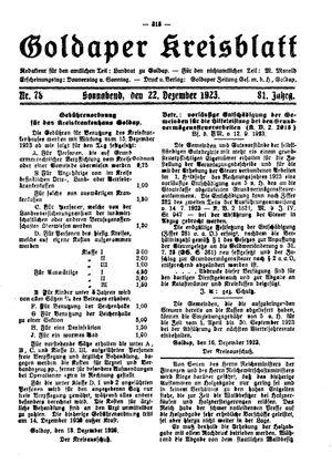 Goldaper Kreisblatt vom 22.12.1923