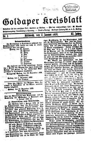 Goldaper Kreisblatt vom 02.01.1924