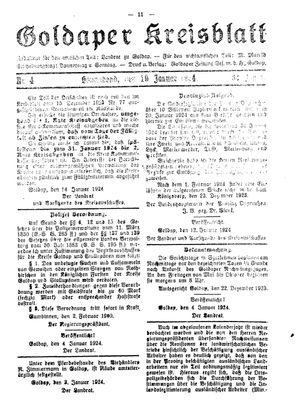 Goldaper Kreisblatt vom 19.01.1924