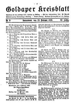 Goldaper Kreisblatt vom 23.02.1924