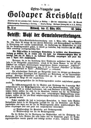 Goldaper Kreisblatt vom 12.03.1924