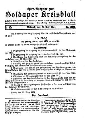 Goldaper Kreisblatt vom 26.03.1924