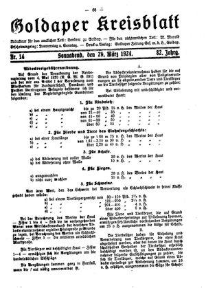 Goldaper Kreisblatt vom 29.03.1924