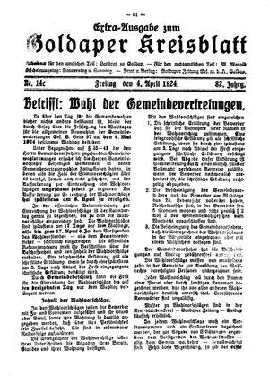 Goldaper Kreisblatt vom 04.04.1924