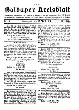 Goldaper Kreisblatt vom 12.04.1924