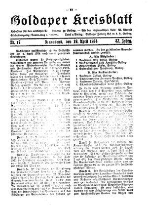 Goldaper Kreisblatt on Apr 19, 1924
