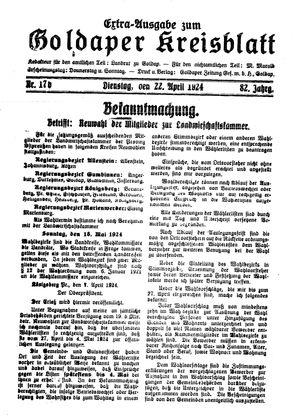 Goldaper Kreisblatt vom 22.04.1924