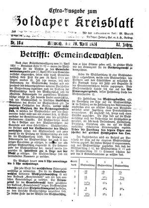 Goldaper Kreisblatt vom 29.04.1924