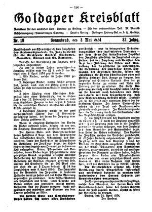 Goldaper Kreisblatt on May 3, 1924
