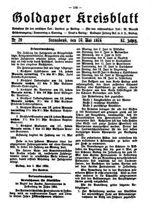 Goldaper Kreisblatt vom 10.05.1924
