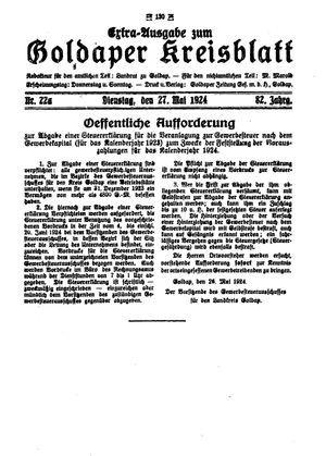 Goldaper Kreisblatt vom 27.05.1924