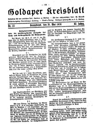 Goldaper Kreisblatt vom 31.05.1924