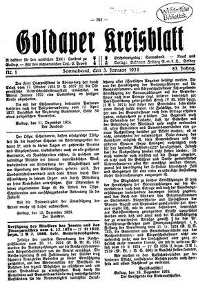 Goldaper Kreisblatt vom 03.01.1925