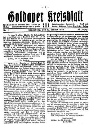 Goldaper Kreisblatt vom 10.01.1925