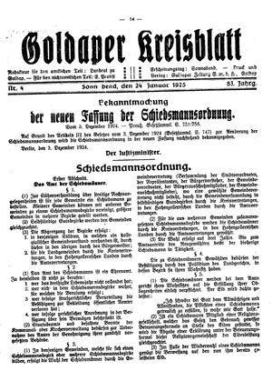 Goldaper Kreisblatt vom 24.01.1925