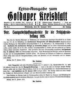 Goldaper Kreisblatt vom 28.01.1925