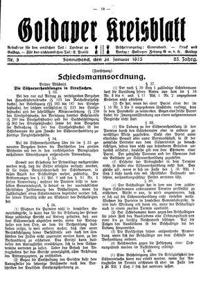 Goldaper Kreisblatt vom 31.01.1925