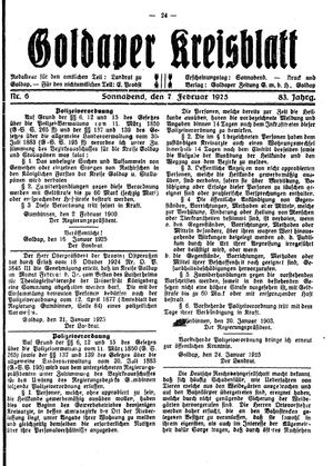 Goldaper Kreisblatt vom 07.02.1925