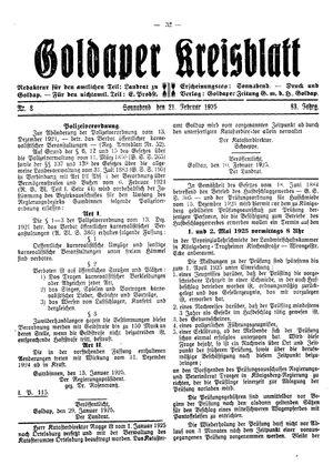Goldaper Kreisblatt vom 21.02.1925