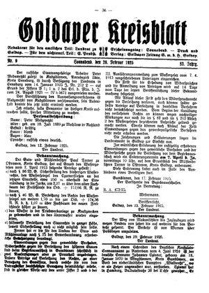 Goldaper Kreisblatt on Feb 28, 1925