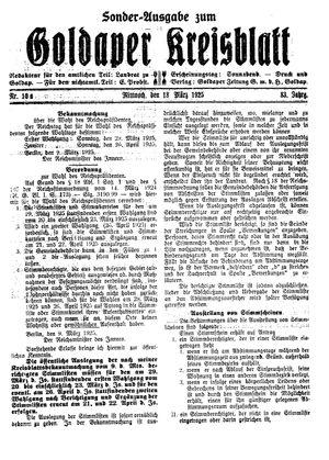 Goldaper Kreisblatt vom 18.03.1925