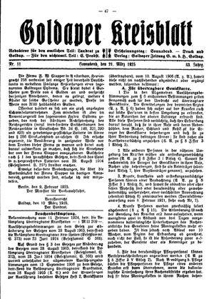 Goldaper Kreisblatt on Mar 21, 1925