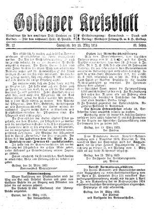 Goldaper Kreisblatt vom 28.03.1925