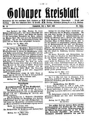 Goldaper Kreisblatt on Apr 4, 1925