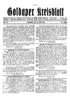 Goldaper Kreisblatt vom 16.05.1925