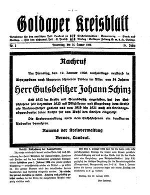 Goldaper Kreisblatt vom 14.01.1926