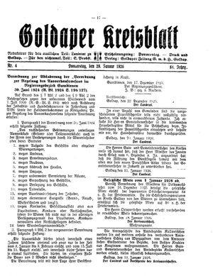 Goldaper Kreisblatt vom 28.01.1926