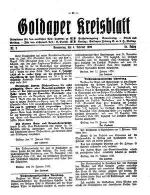 Goldaper Kreisblatt vom 04.02.1926