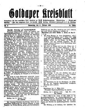 Goldaper Kreisblatt on Feb 11, 1926