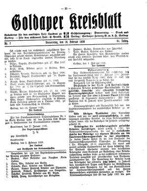Goldaper Kreisblatt vom 18.02.1926