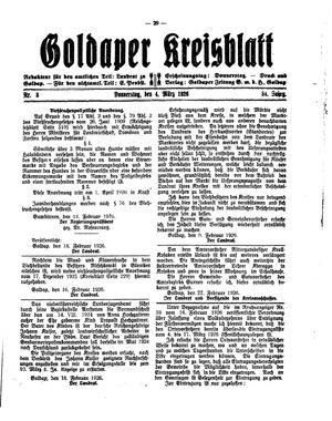 Goldaper Kreisblatt vom 25.02.1926