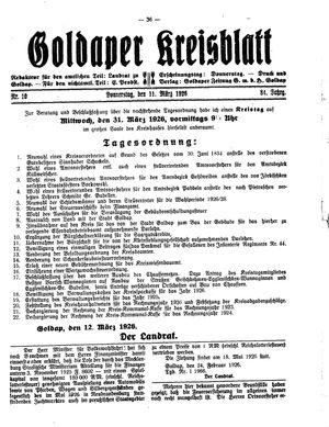 Goldaper Kreisblatt on Mar 11, 1926